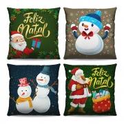 Kit 4 Capas de Almofadas Estampadas Decorativas 40x40 Natal Papai Noel Verde Bonecos de Neve