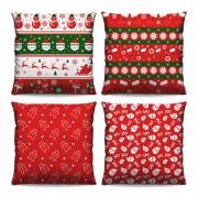 Kit 4 Capas de Almofadas Estampadas Decorativas 40x40 Natal Temas Vermelho Branco Verde Símbolos