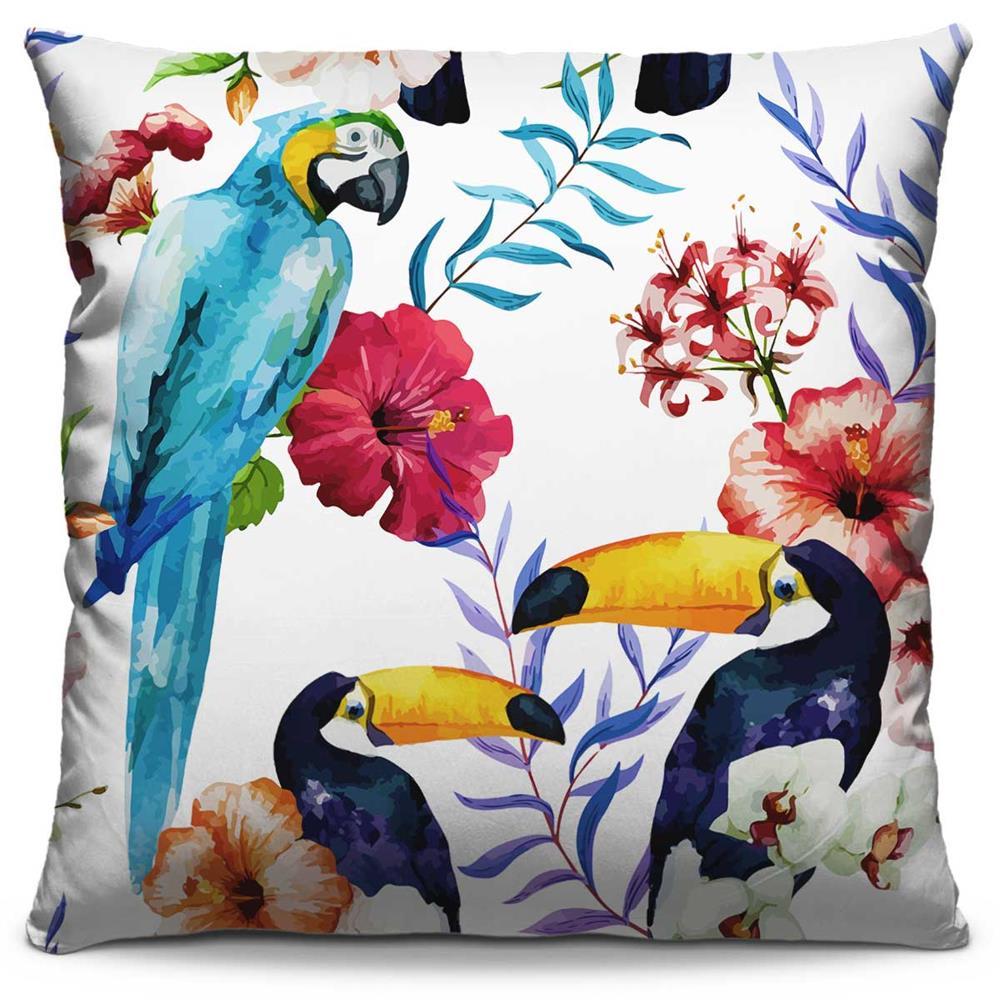Almofada Estampada Colorida Florata Arara e Tucanos 253