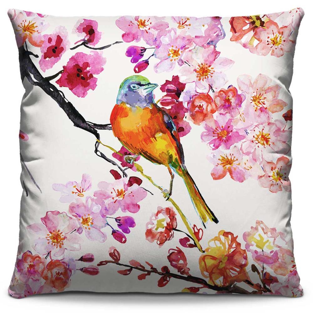 Almofada Estampada Colorida Florata Pássaro 252