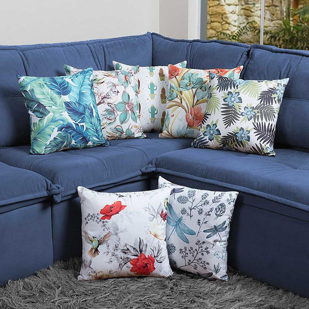 Almofada Estampada Colorida Florata Pássaros 142
