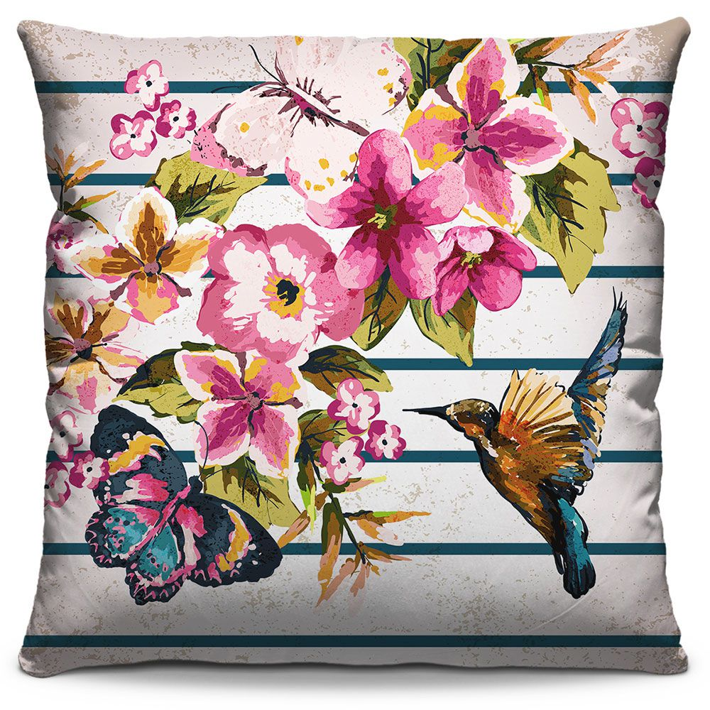Almofada Estampada Colorida Florata Pássaros 331