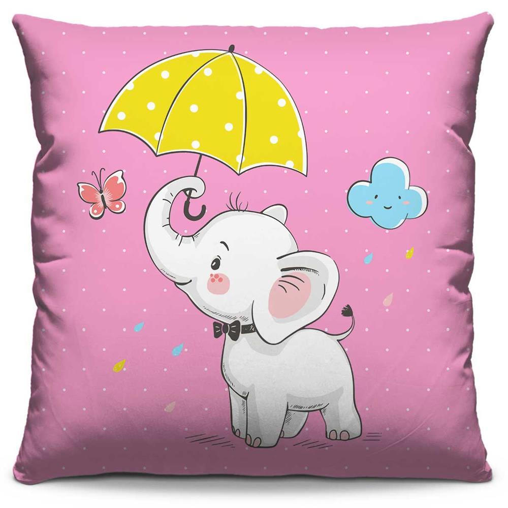 Almofada Estampada Colorida Kids Elefantinho de Guarda-Chuva 210
