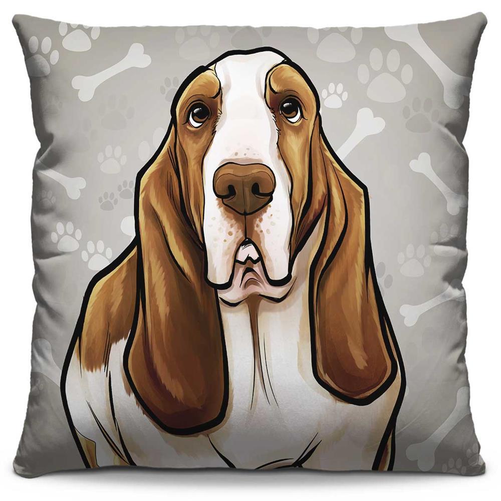 Almofada Estampada Colorida Pets Basset Hound 283