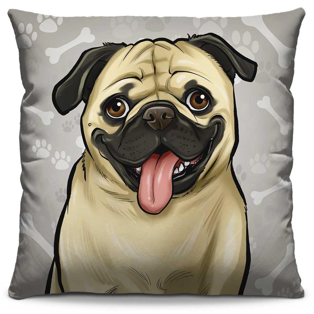 Almofada Estampada Colorida Pets Pug 297