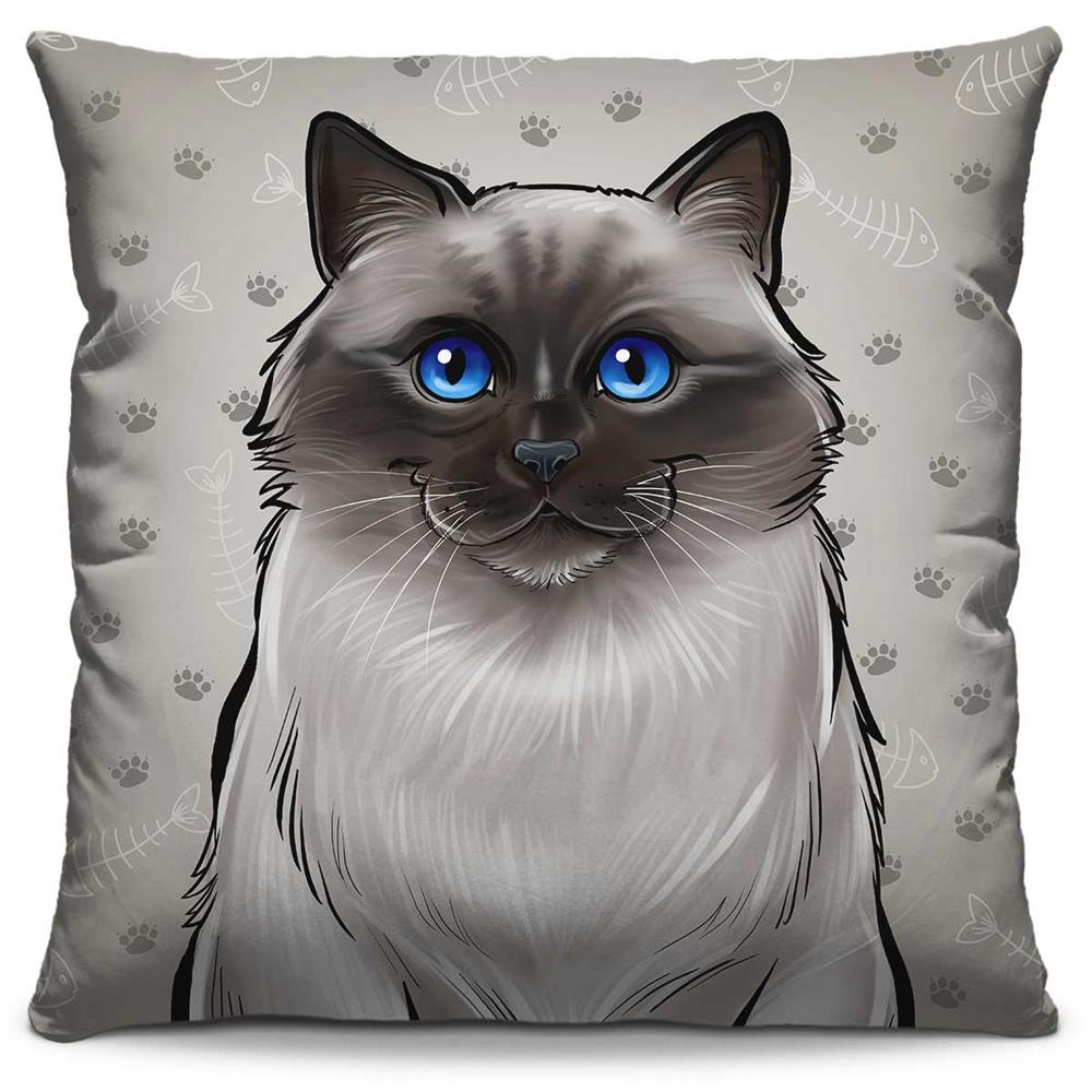 Almofada Estampada Colorida Pets Siamês 304