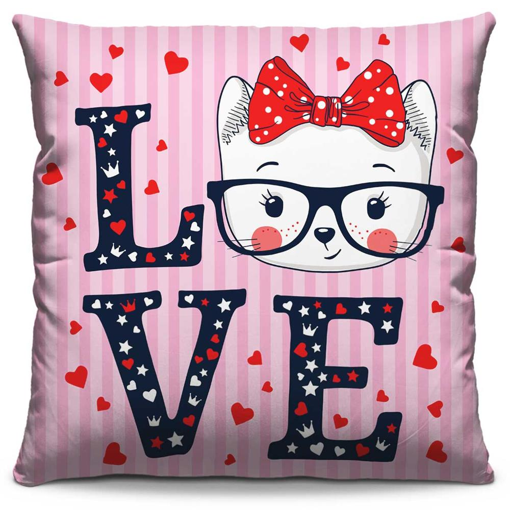 Almofada Estampada Colorida Pop Love Cat 190