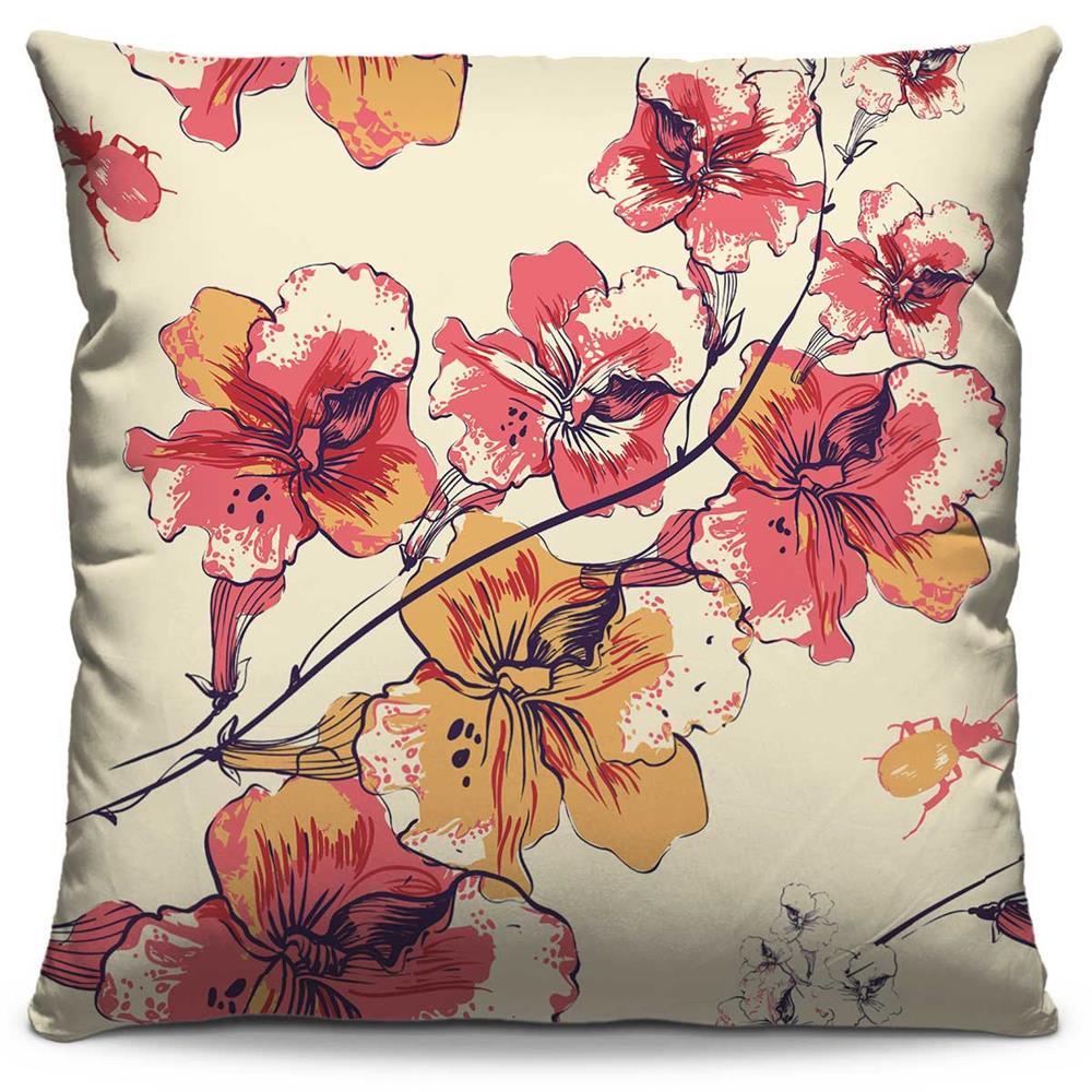 Capa de Almofada Estampada Colorida Florata Flores 10