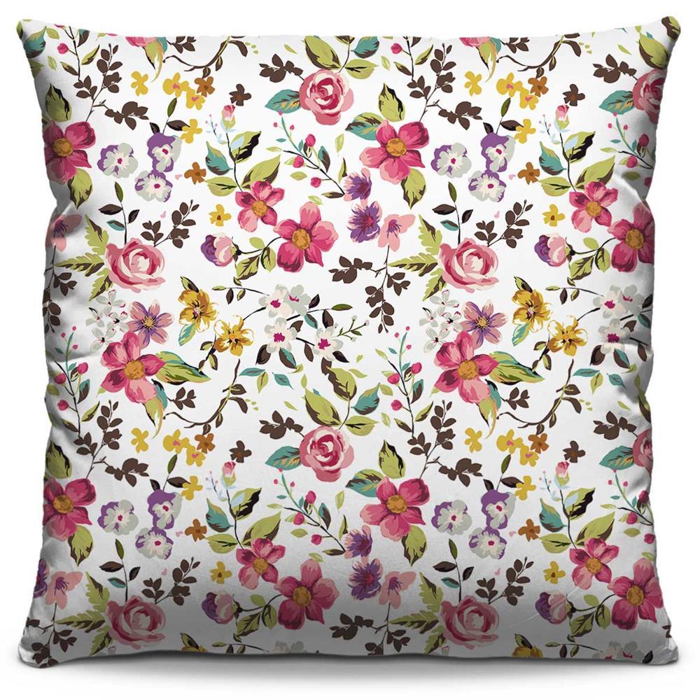 Capa de Almofada Estampada Colorida Florata Flores 25