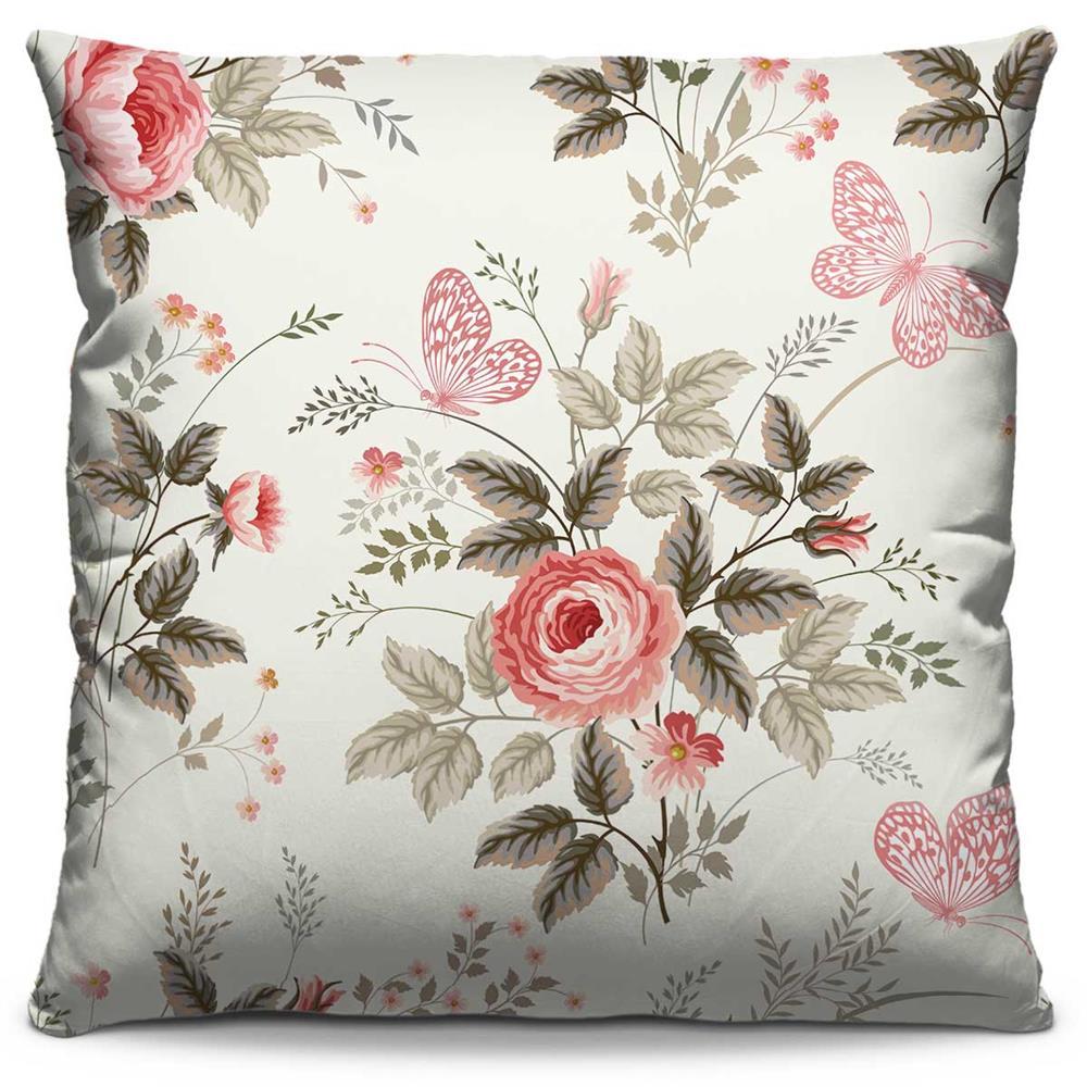 Capa de Almofada Estampada Colorida Florata Flores 49