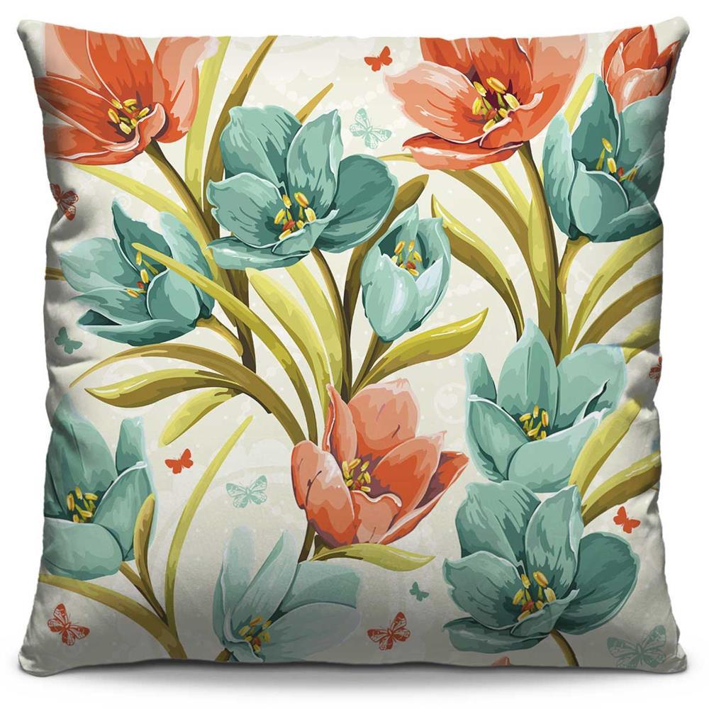 Capa de Almofada Estampada Colorida Florata Flores 99