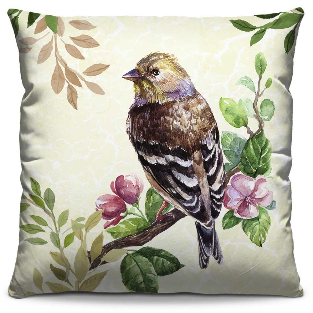 Capa de Almofada Estampada Colorida Florata Pássaro 249