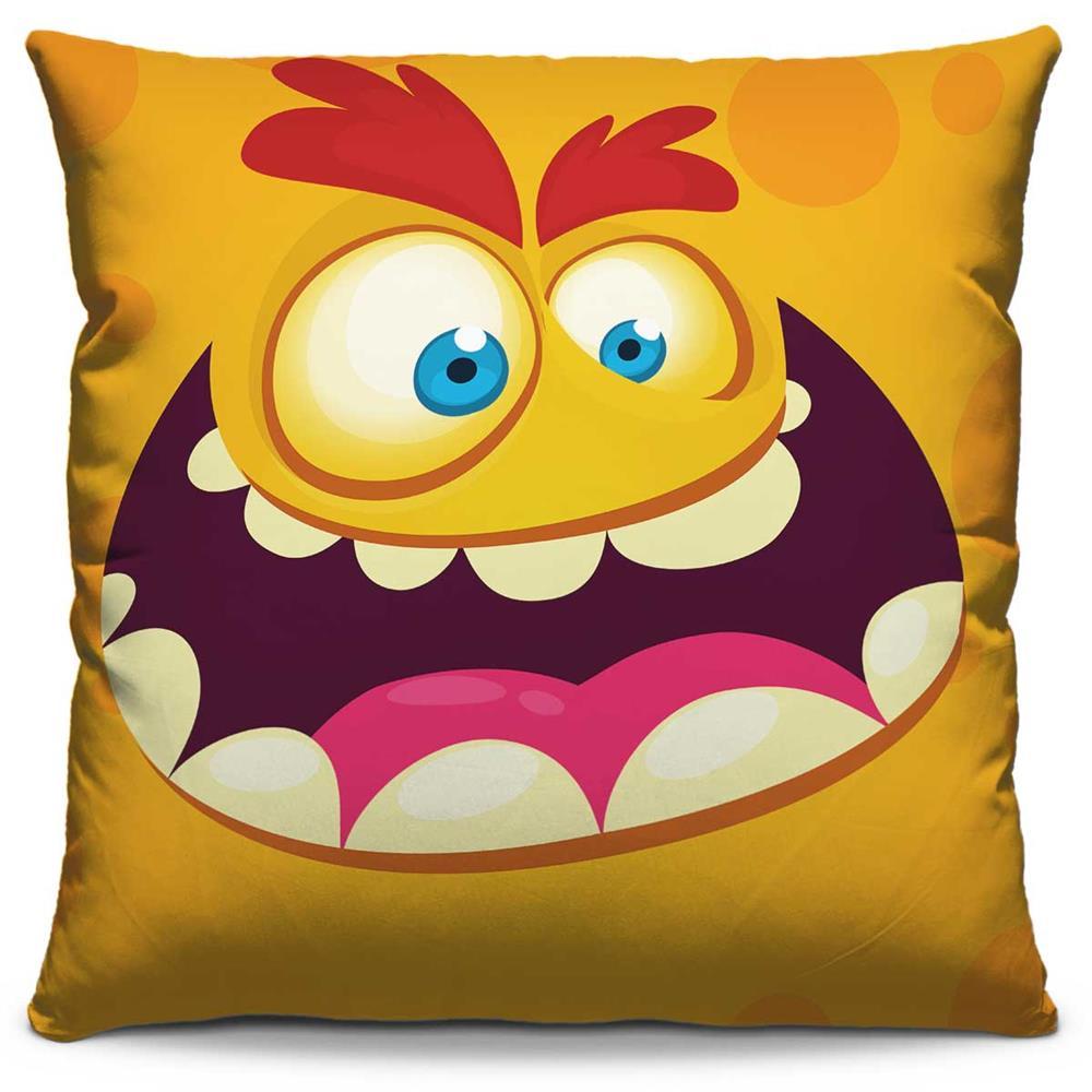 Capa de Almofada Estampada Colorida Kids Monstrinho Amarelo 79