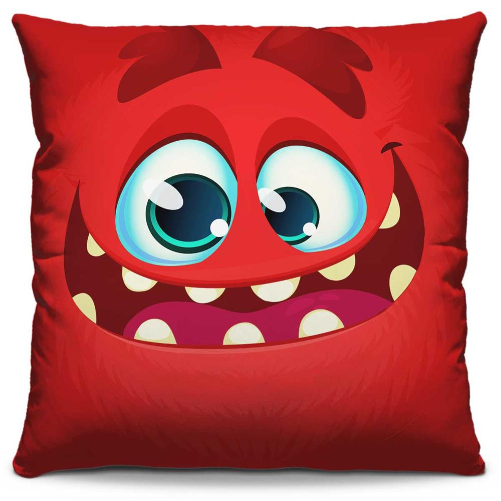 Capa de Almofada Estampada Colorida Kids Monstrinho Vermelho 76