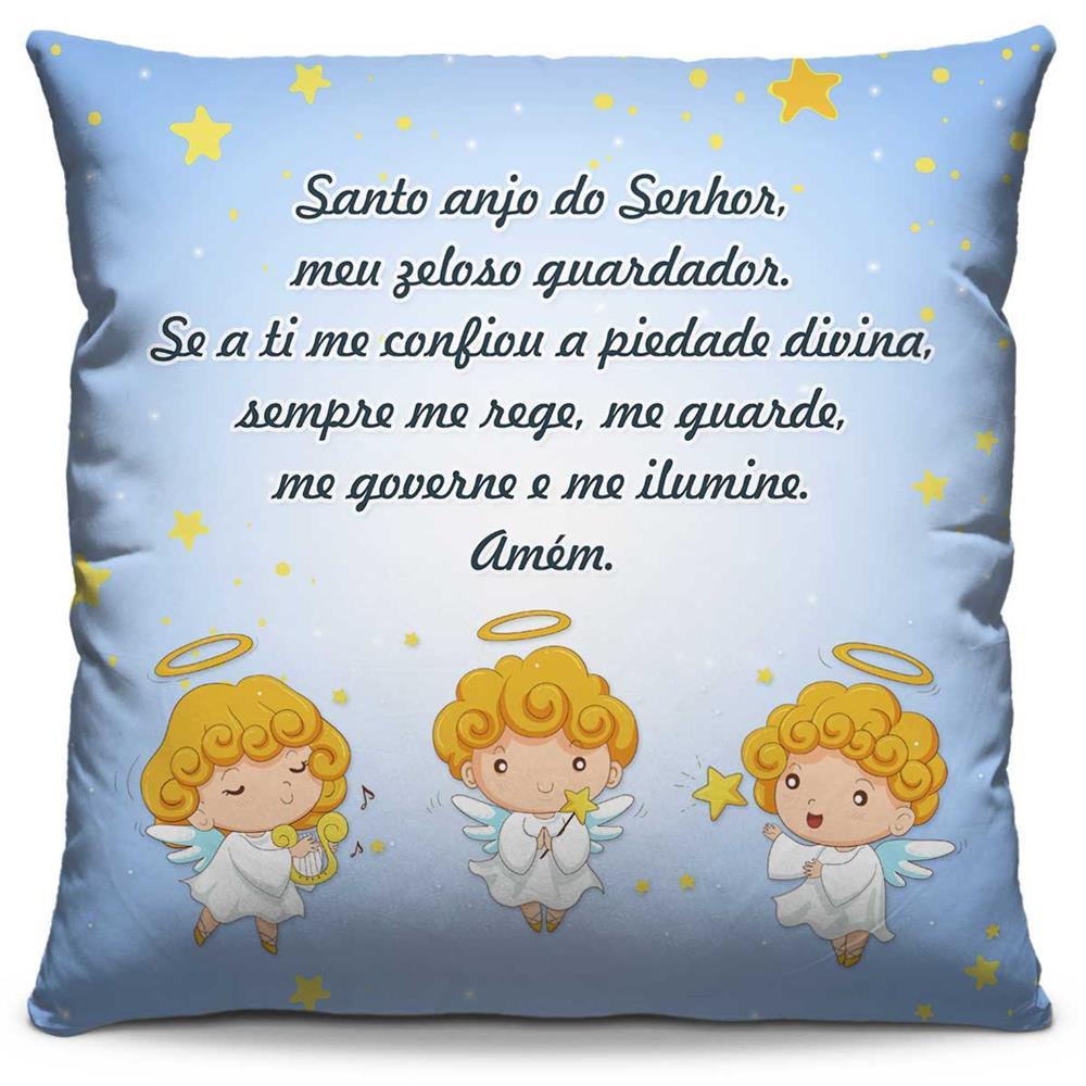 Capa de Almofada Estampada Colorida Kids Santo Anjo Azul 271