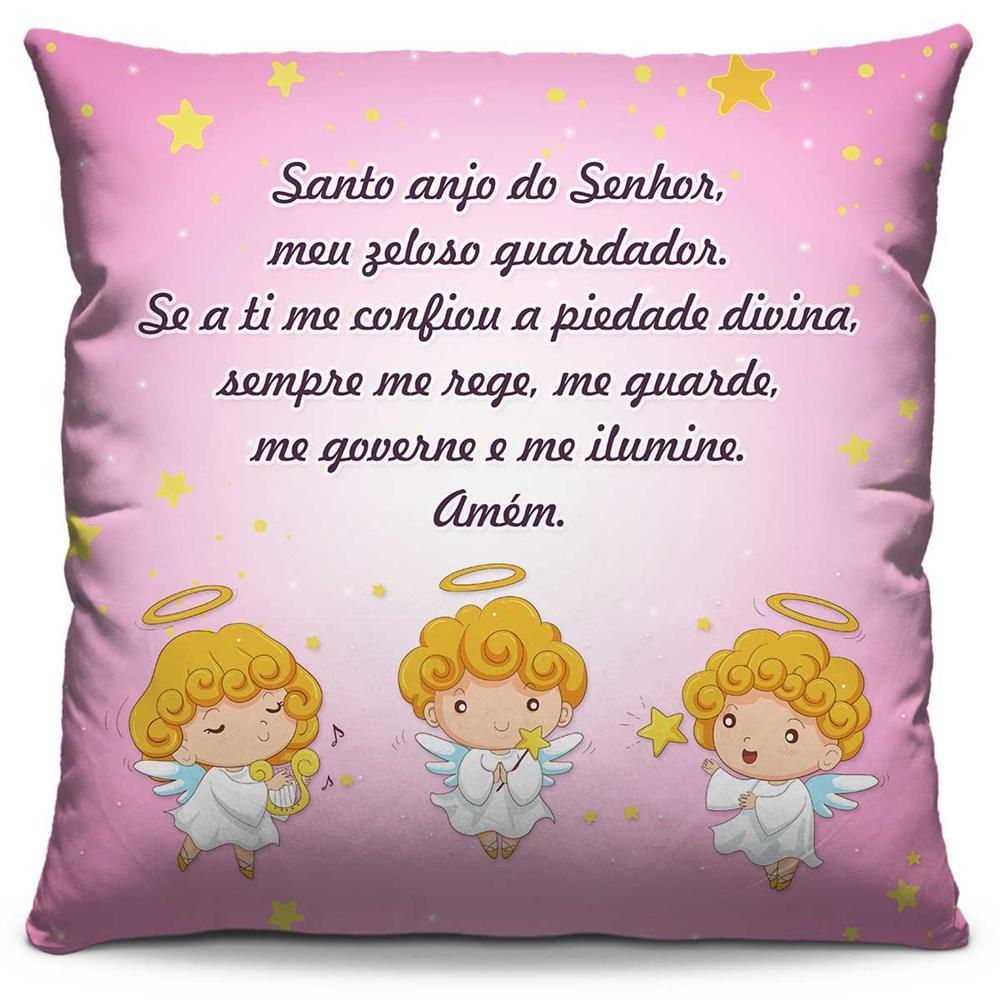 Capa de Almofada Estampada Colorida Kids Santo Anjo Rosa 270