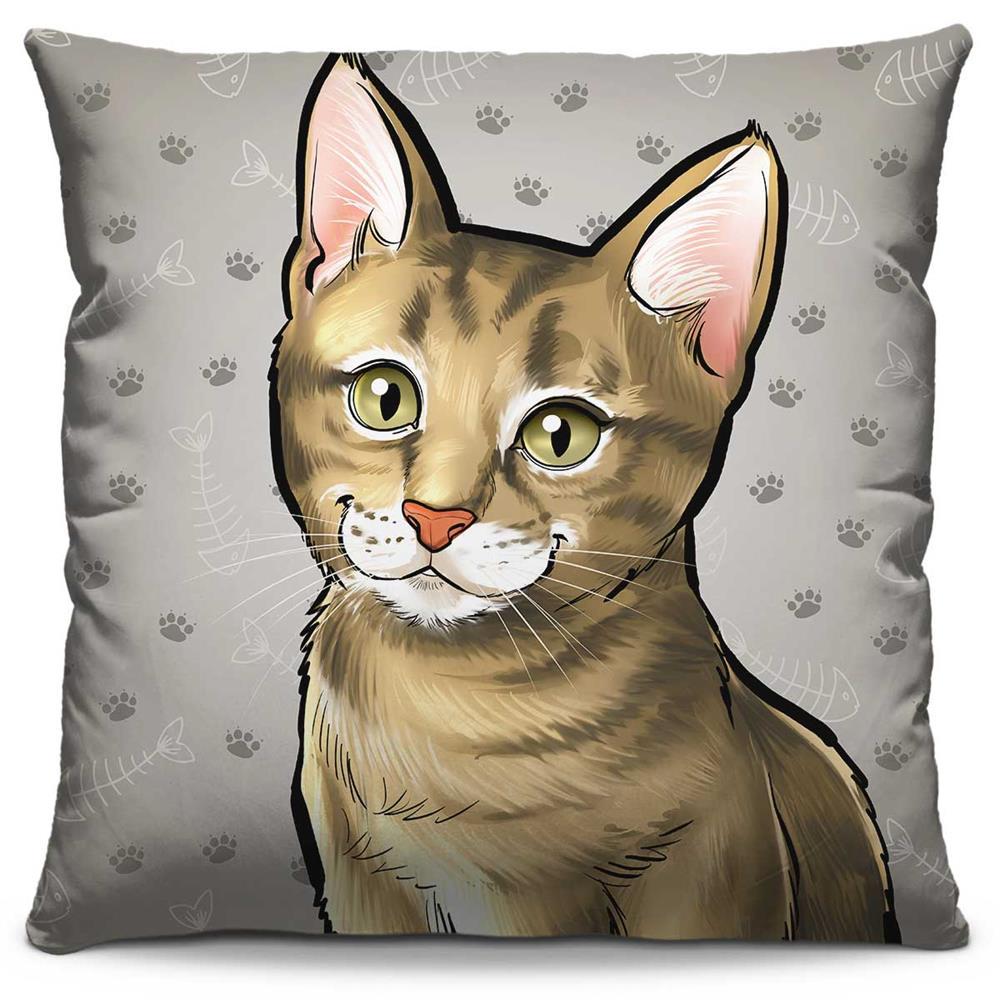 Capa de Almofada Estampada Colorida Pets Gato 305