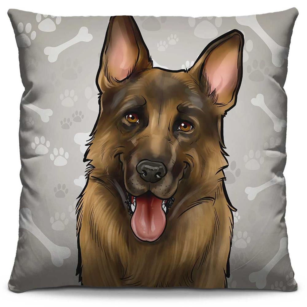 Capa de Almofada Estampada Colorida Pets Pastor Alemão 293