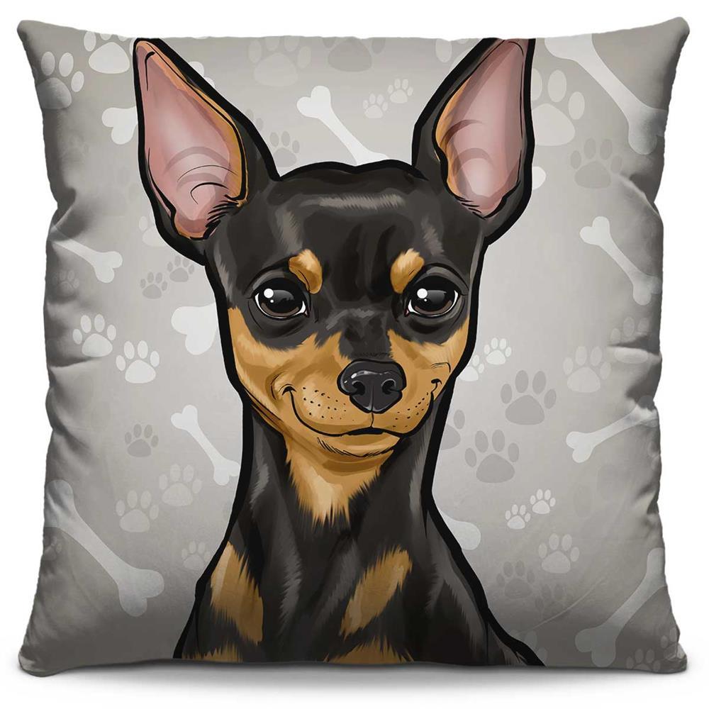 Capa de Almofada Estampada Colorida Pets Pinscher 294