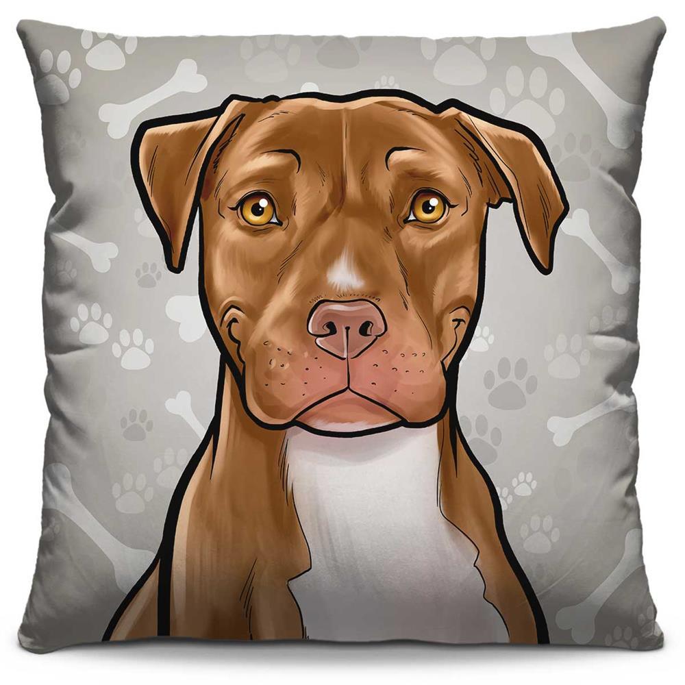 Capa de Almofada Estampada Colorida Pets Pitbull 295