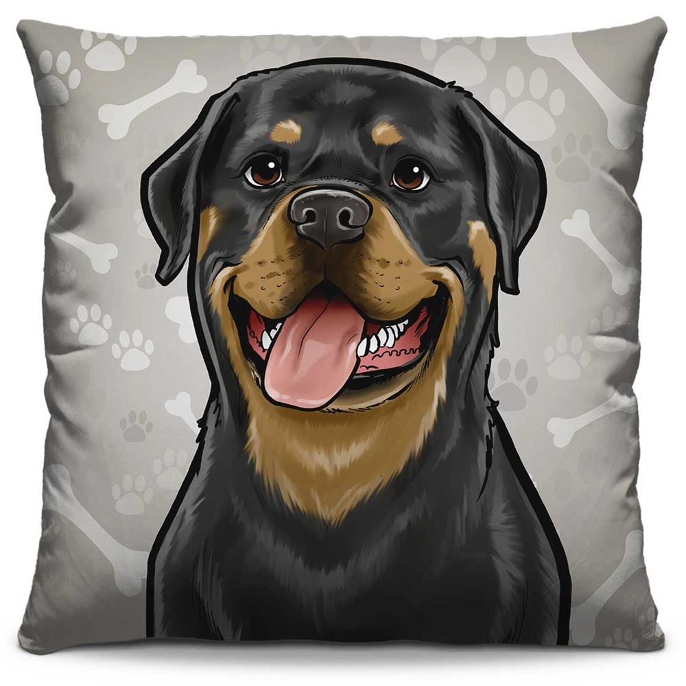 Capa de Almofada Estampada Colorida Pets Rottweiler 298