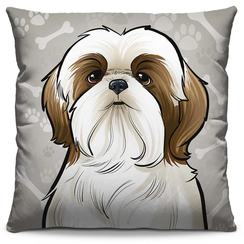 Capa de Almofada Estampada Colorida Pets Shihtzu 300