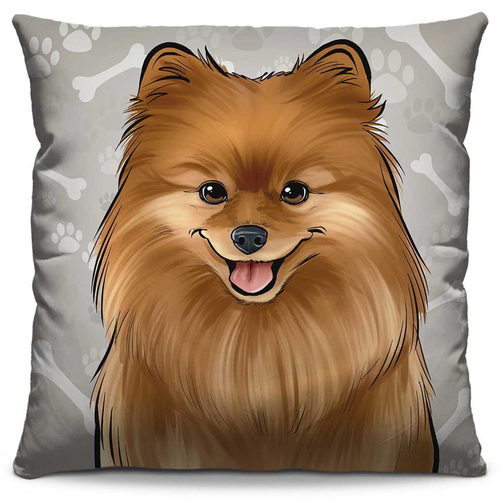 Capa de Almofada Estampada Colorida Pets Spitz Alemão 301