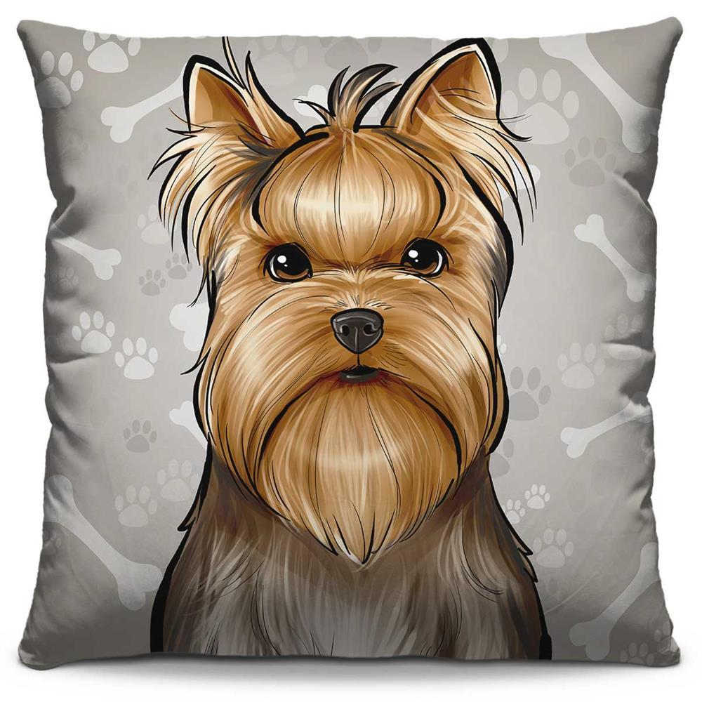 Capa de Almofada Estampada Colorida Pets Yorkshire 302