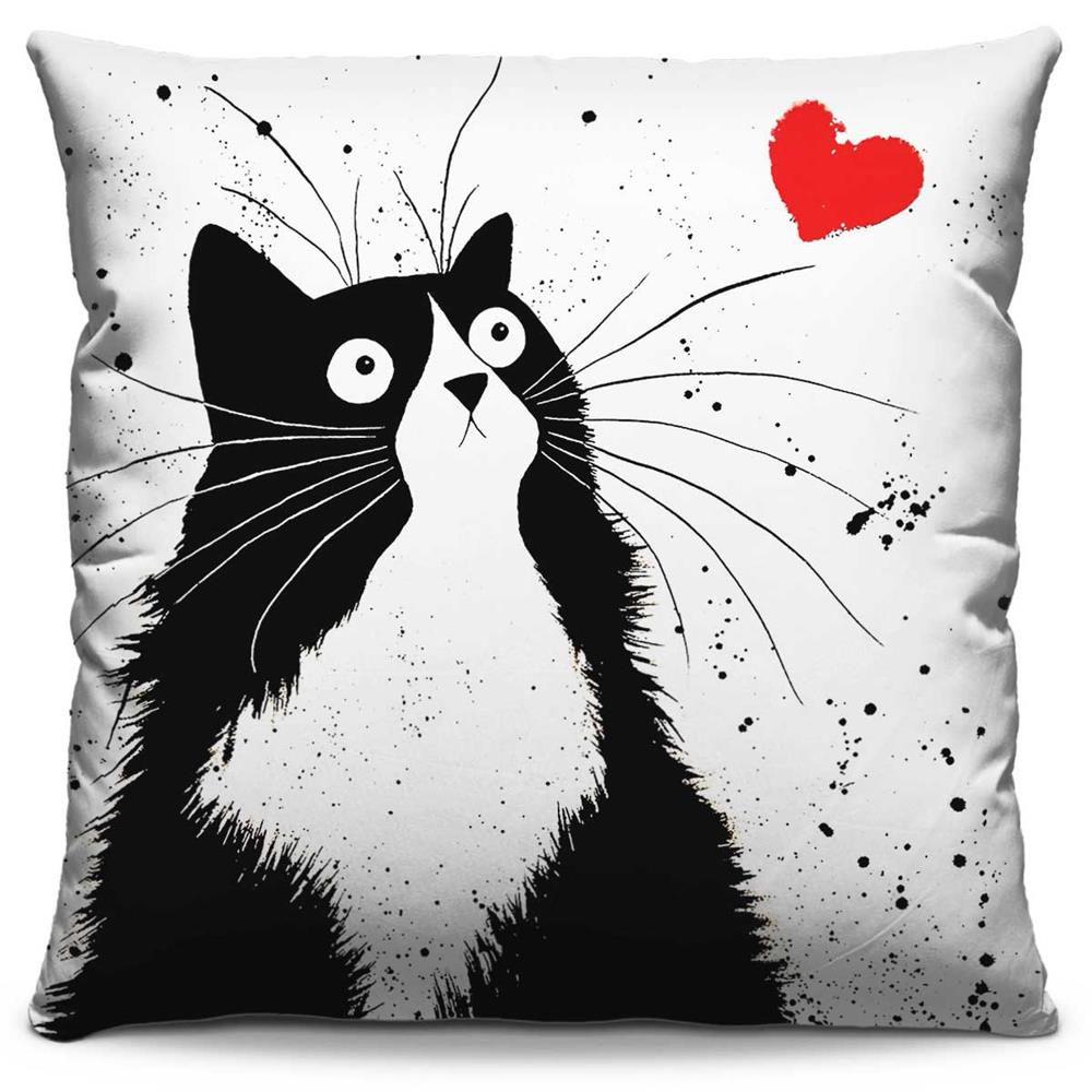 Capa de Almofada Estampada Colorida Pop Coração de Gato 272