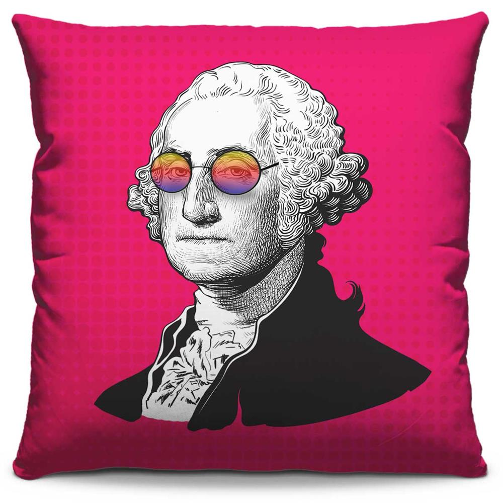 Capa de Almofada Estampada Colorida Pop George Washington 236