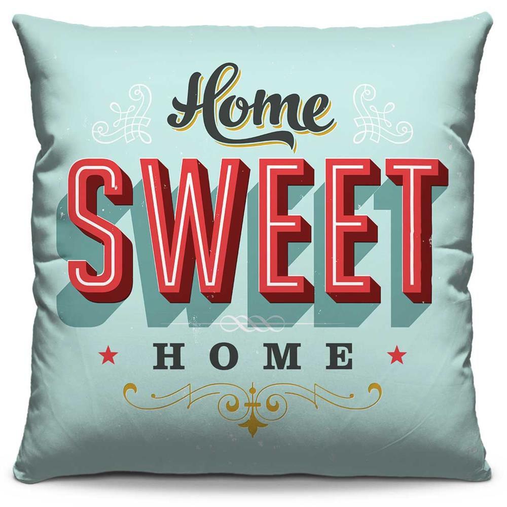 Capa de Almofada Estampada Colorida Pop Home Sweet Home 14