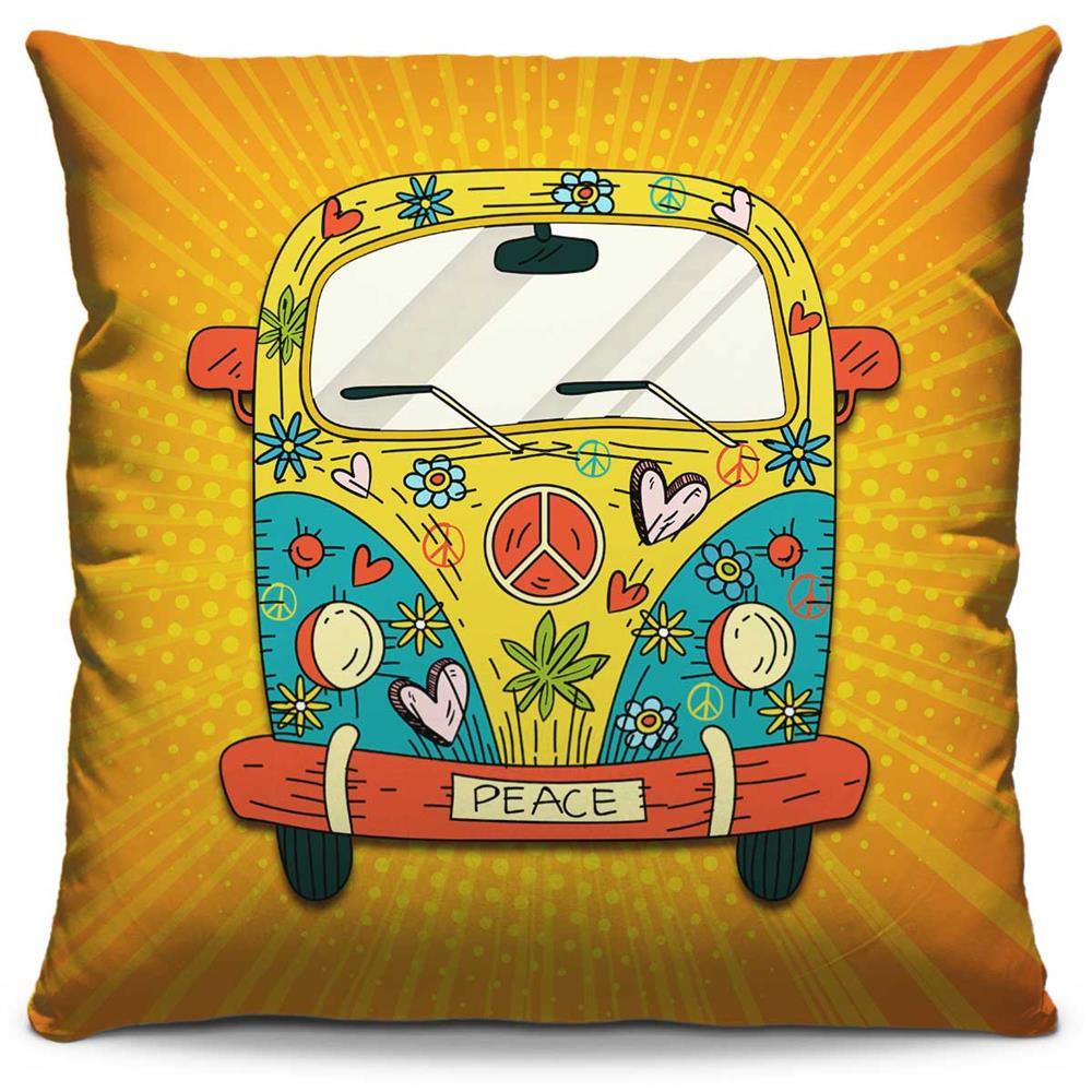 Capa de Almofada Estampada Colorida Pop Kombi Paz e Amor 233