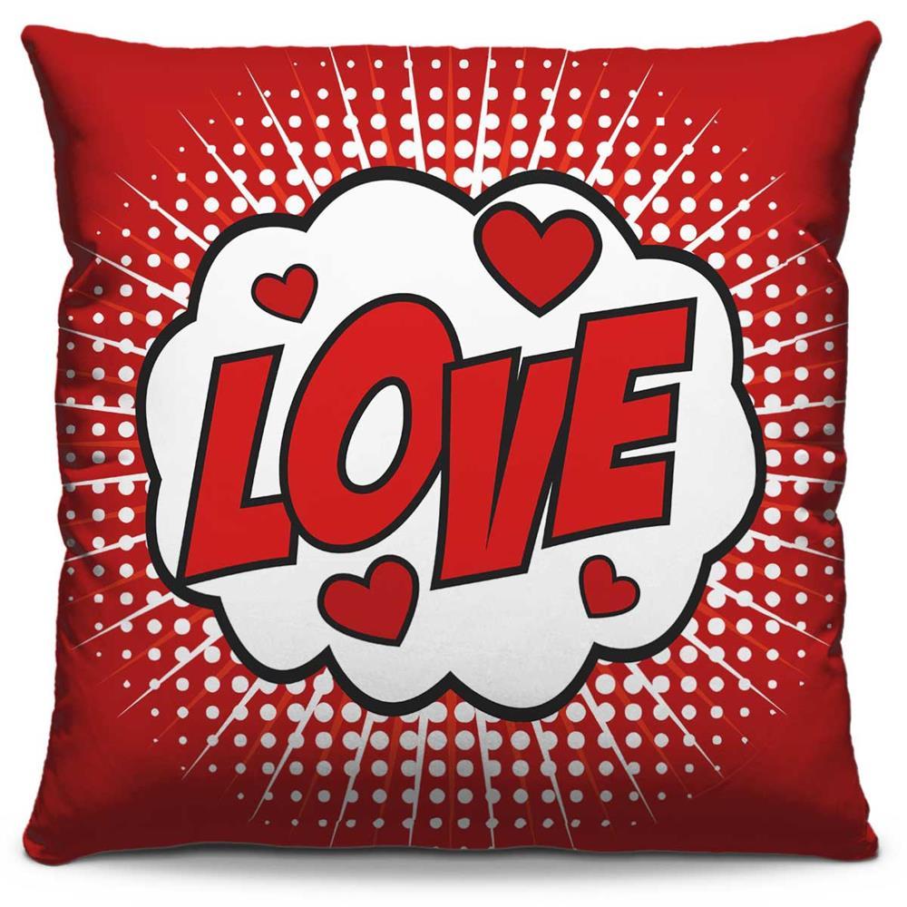 Capa de Almofada Estampada Colorida Pop Love 237
