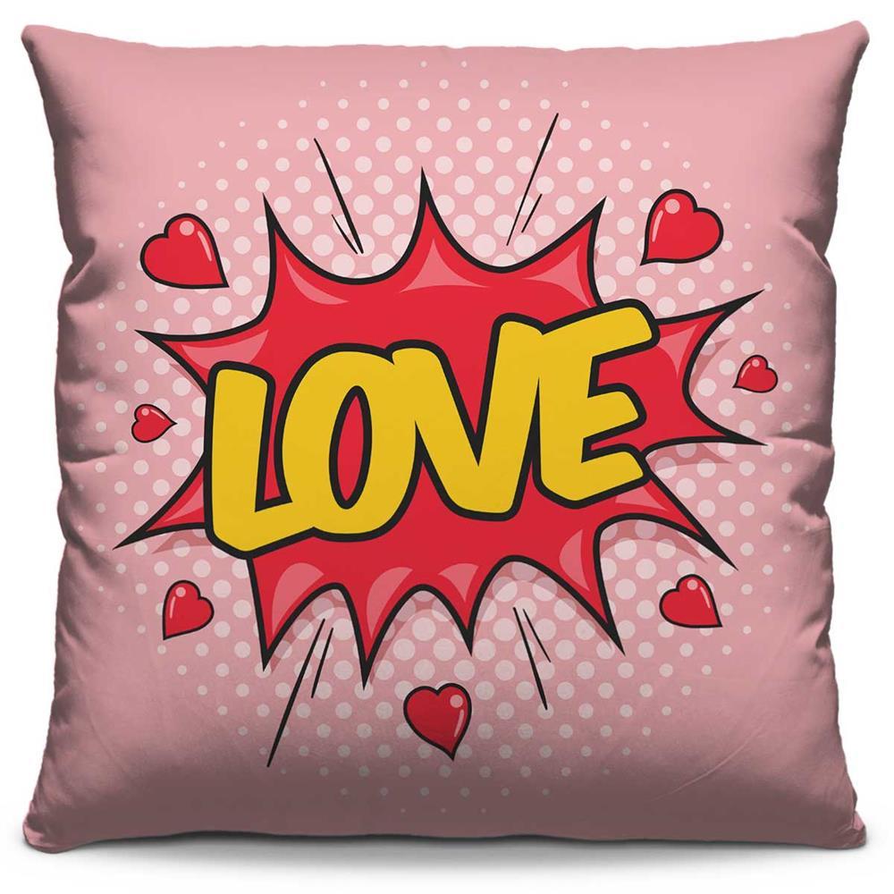 Capa de Almofada Estampada Colorida Pop Love 57