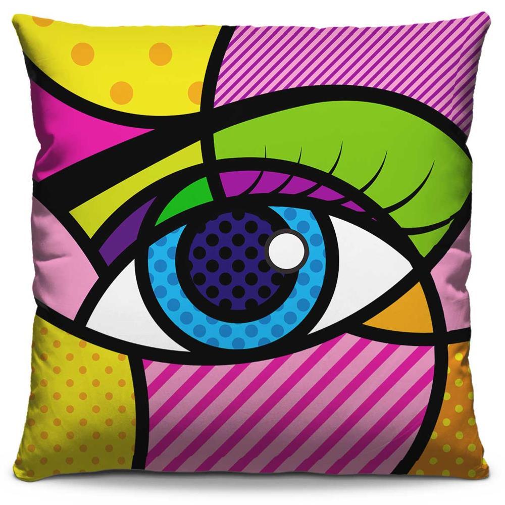 Capa de Almofada Estampada Colorida Pop Olho 59