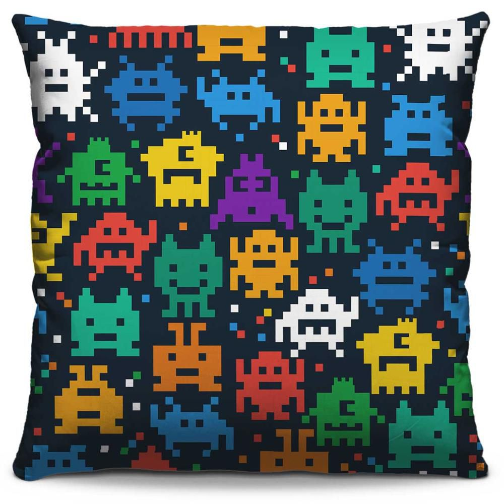 Capa de Almofada Estampada Colorida Pop Space Invaders 244