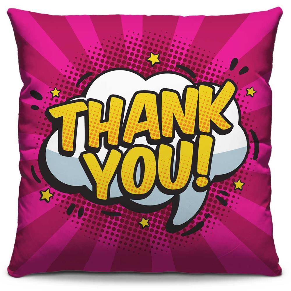 Capa de Almofada Estampada Colorida Pop Thank You! 245