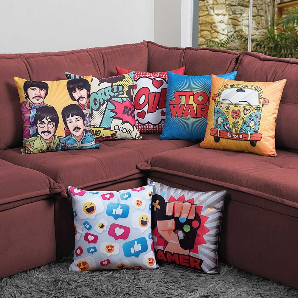 Capa de Almofada Estampada Colorida Pop The Beatles 201