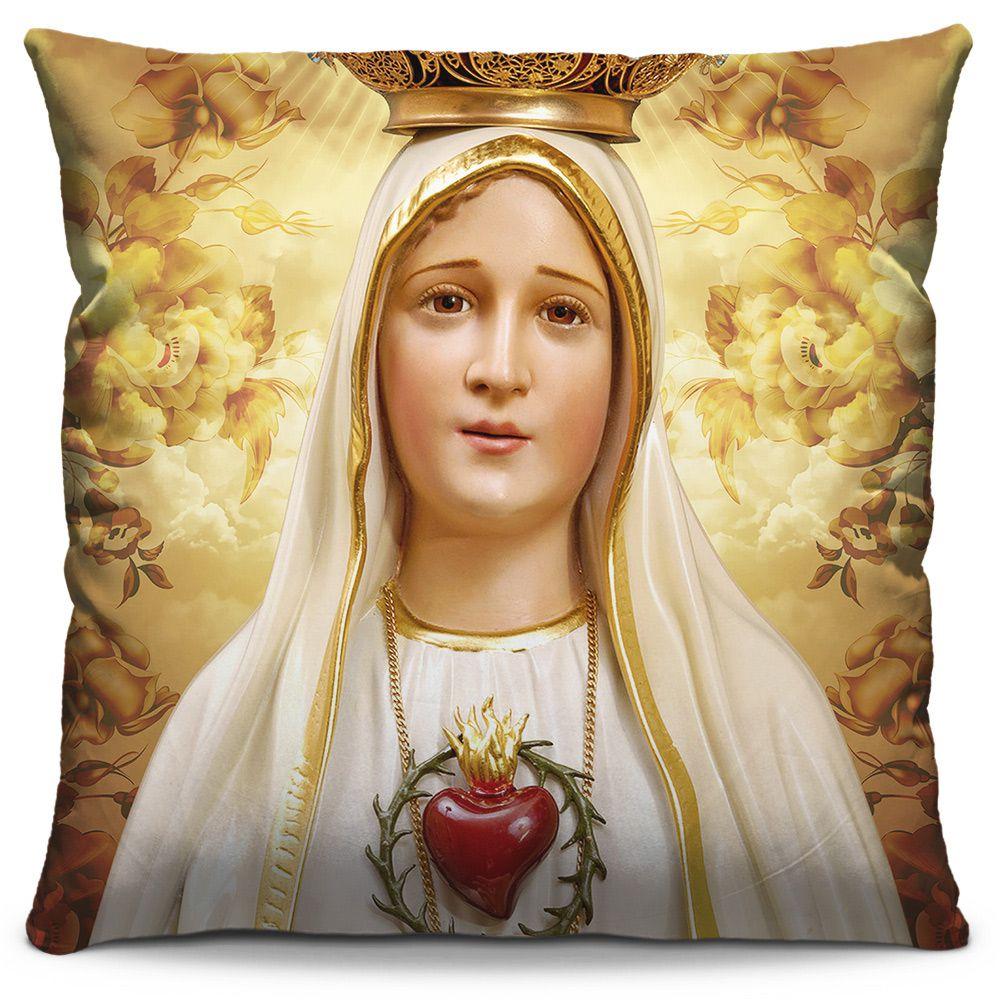 Capa de Almofada Estampada Colorida Religiosa Nossa Senhora de Fátima