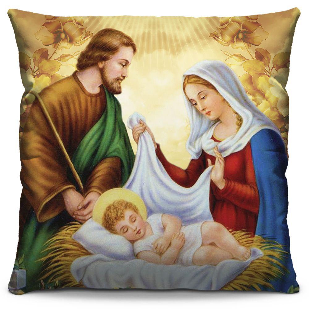 Capa de Almofada Estampada Colorida Religiosa Sagrada Família