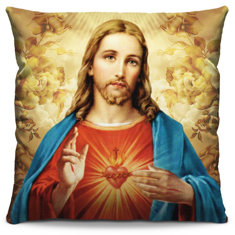 Capa de Almofada Estampada Colorida Religiosa Sagrado Coração de Jesus