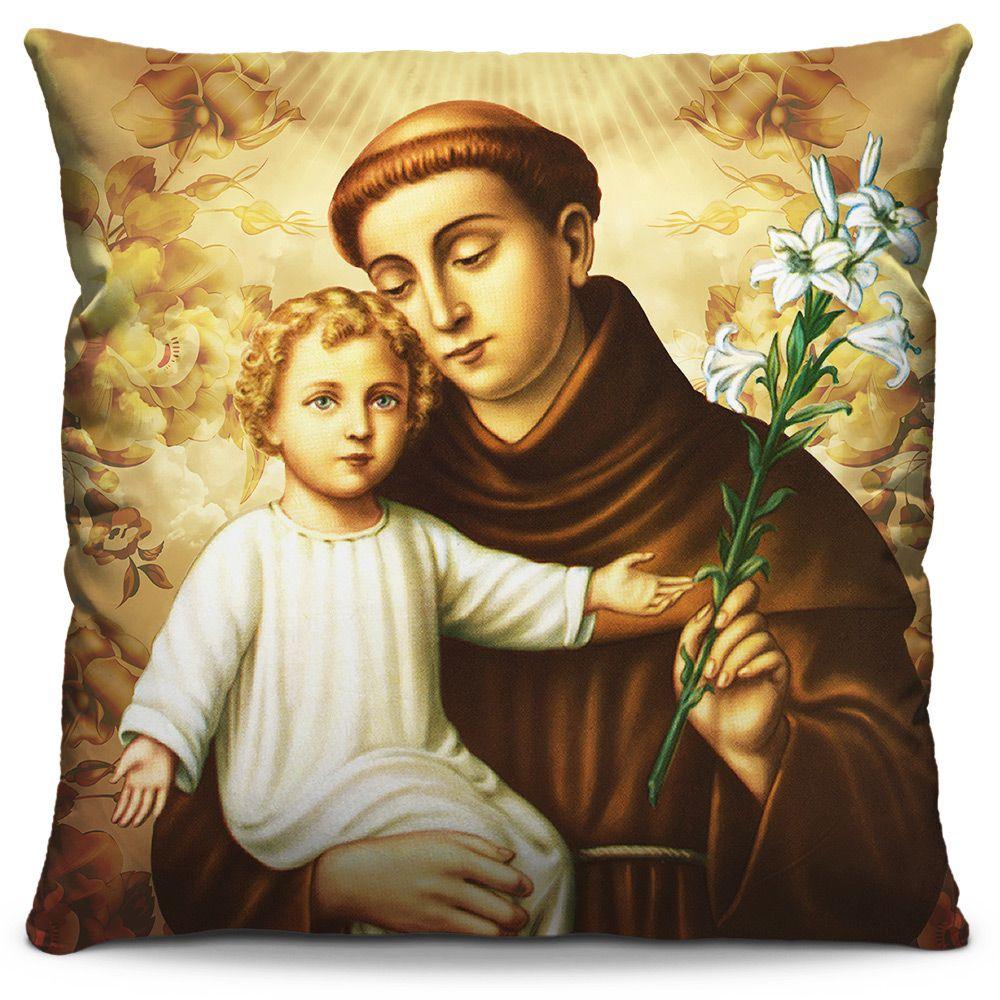 Capa de Almofada Estampada Colorida Religiosa Santo Antônio