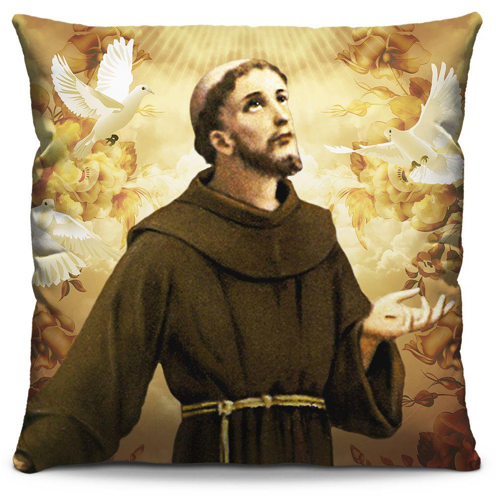 Capa de Almofada Estampada Colorida Religiosa São Francisco de Assis