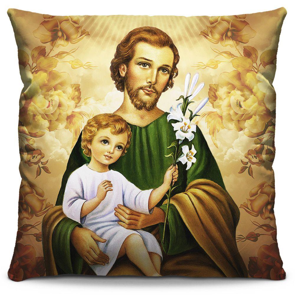 Capa de Almofada Estampada Colorida Religiosa São José