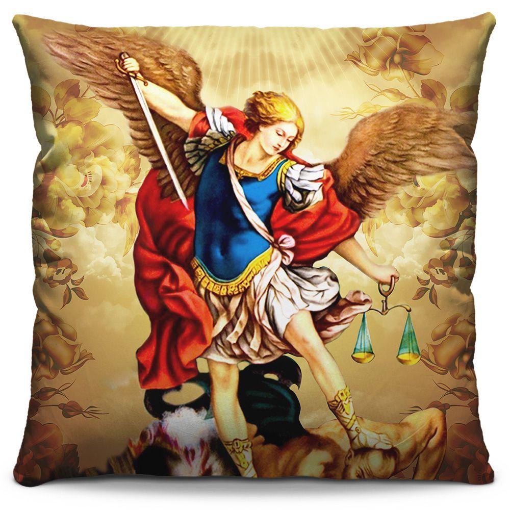 Capa de Almofada Estampada Colorida Religiosa São Miguel Arcanjo