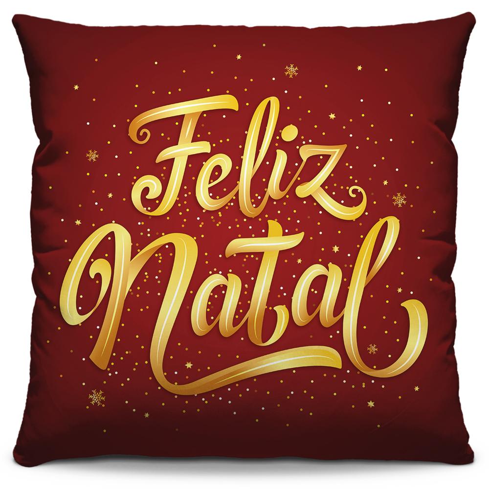 Capa de Almofada Estampada Decorativa 40x40 Feliz Natal Vermelho Vinho