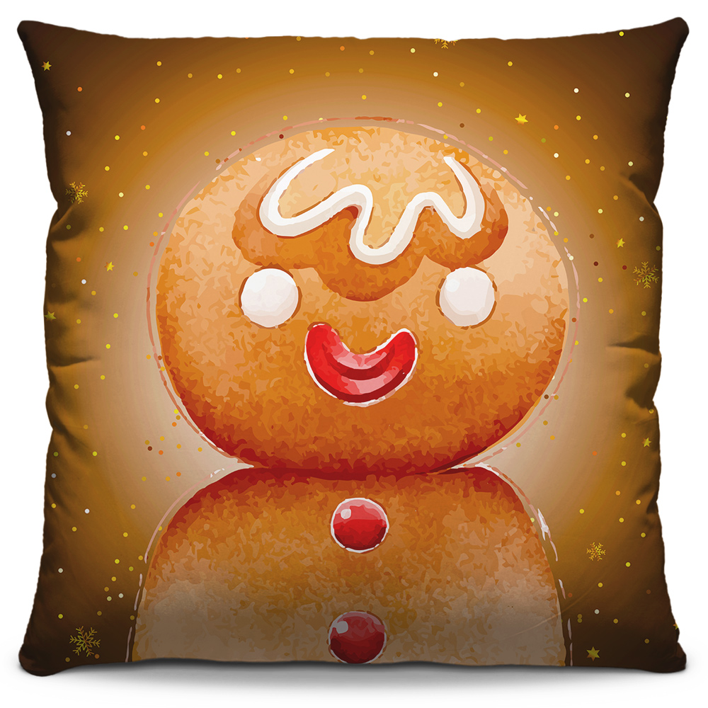 Capa de Almofada Estampada Decorativa 40x40 Natal Biscoito de Açúcar Tons Marrons Laranja