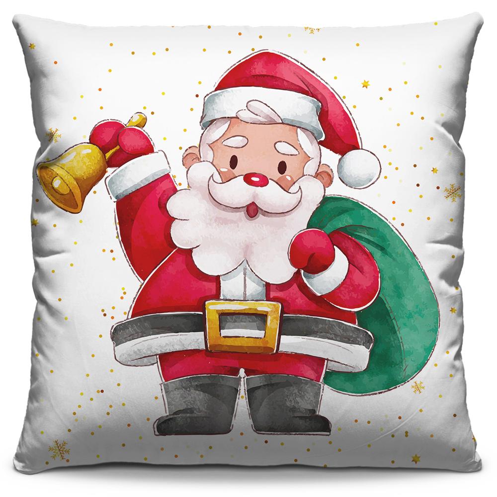 Capa de Almofada Estampada Decorativa 40x40 Natal Papai Noel Sino Presentes