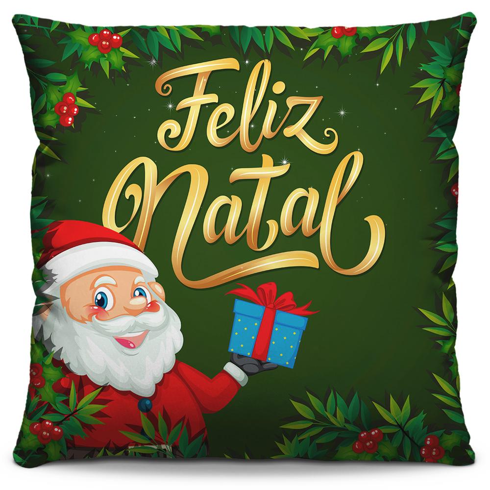 Capa de Almofada Estampada Decorativa 40x40 Natal Papai Noel Verde Feliz Natal