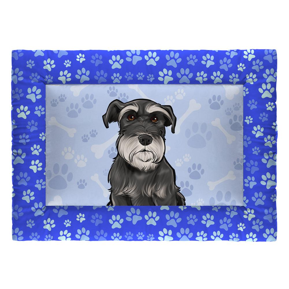 Colchonete Cama Tapete Pet Cães 63x43cm Azul Schnauzer